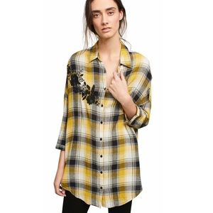 Anthropologie Maeve Plaid embroidered tunic